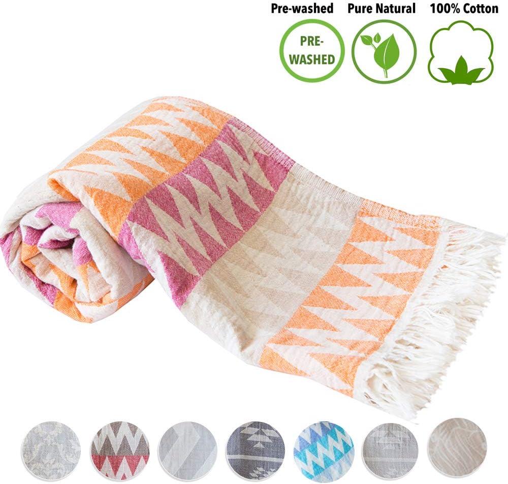 Mebien Turkish Lightweight Towel for Beach Bath -Lightweight Prewashed 100% Cotton Towel Gypsy Orange 33x66inches