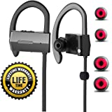 Bluetooth Headphones Wireless In Ear Earbuds sports Sweatproof Earphones HD Stereo Noise Cancelling Headset with Built-in Mic By Mpoomp (V4.1, Soft Ear Hooks Design, 6Hours Play Time)