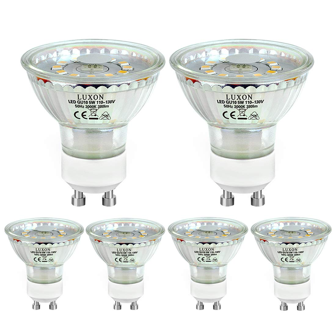 6-pack GU10 LED Light Bulbs 40W Equivalent Halogen Light Bulbs Warm White 3000K Non-dimmable Spotlight Light Recessed Indoor Lights by LUXON