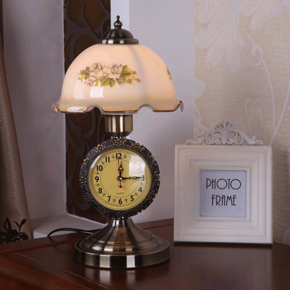 BXJ レトロな時計ランプ、ガラスランプシェード、家の装飾テーブルランプ。読書机ランプ (Color : Non-dimmable)  Non-dimmable B07RDCXFW9
