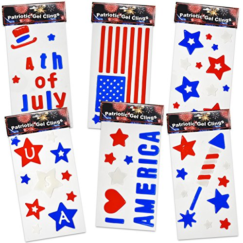 Gift Boutique Patriotic Window Gel Clings Party Decorations 6 Pack Fourth of July American Flag Stars and Stripes I Love America Red White and Blue USA Decals