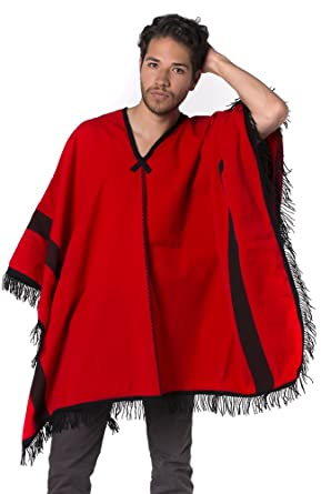 for Men Red with Colourful Stripes Rustic Style Gamboa Alpaca Poncho