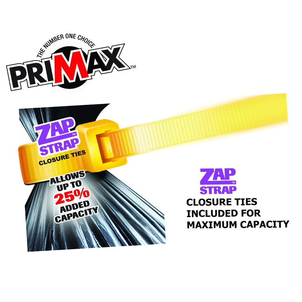 """Value Pack 80 Heavy Duty Premium 42 Gallon Clean-Up Contractor Bags with ZAP-STRAP Ties for Easy Closure and Maximum Capacity   32"""" x 50"""" 3 Mil   80 Trash Bags (4 Boxes of 20) by PRIMAX (Image #2)"""