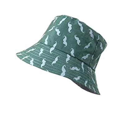 75ae50105a3e25 XueXIan(TM) Unisex Kid Mustache Printed Performance Summer Bucket Hat 5  Colors (Green