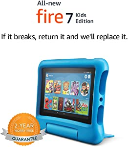 """Fire 7 Kids Edition Tablet, 7"""" Display, 16 GB, Blue Kid-Proof Case"""