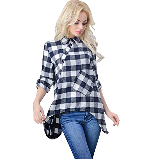 Kulywon Fashion Women Plaid Casual Top T Shirt Ladies Loose Long Sleeve Top Blouse at Amazon Womens Clothing store: