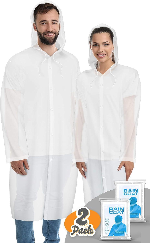 Hagon PRO Rain Coat (2 Pack) - EVA Rain Poncho for Women and Men, Reusable Raincoat