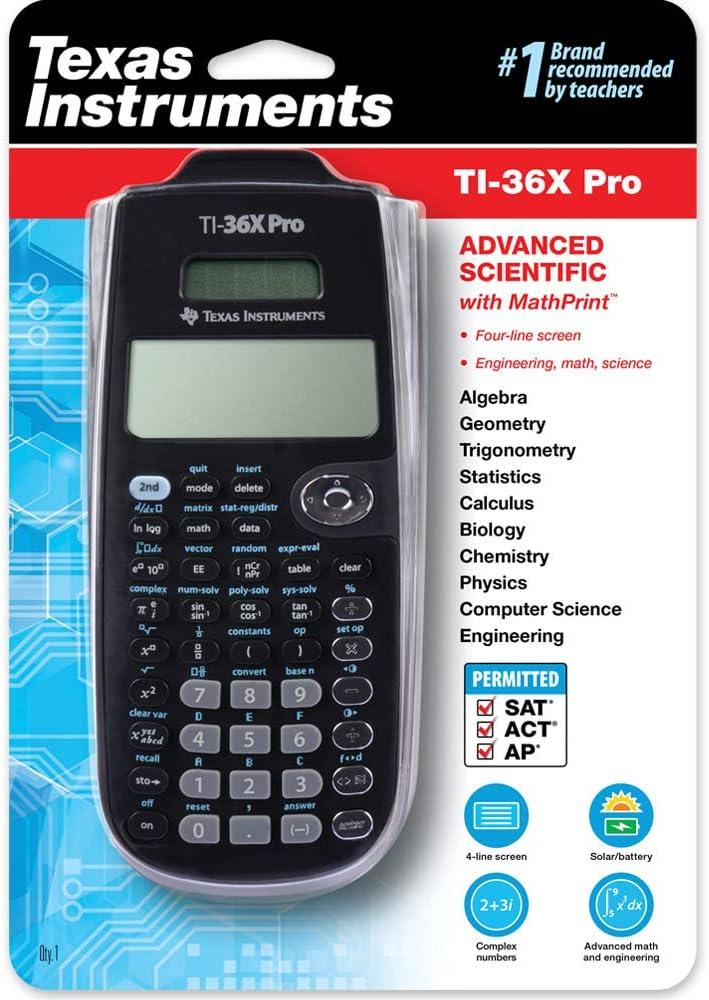 TI-36 X Pro Texas Instruments Schulrechner CalcCase Schutztasche und Zirkelset