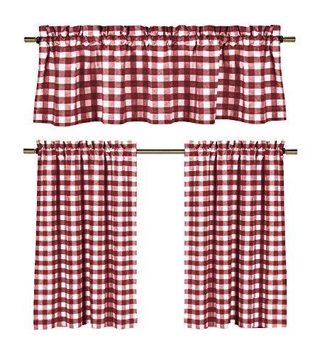 Wine Red White Kitchen Curtains: Gingham Checkered Plaid Design