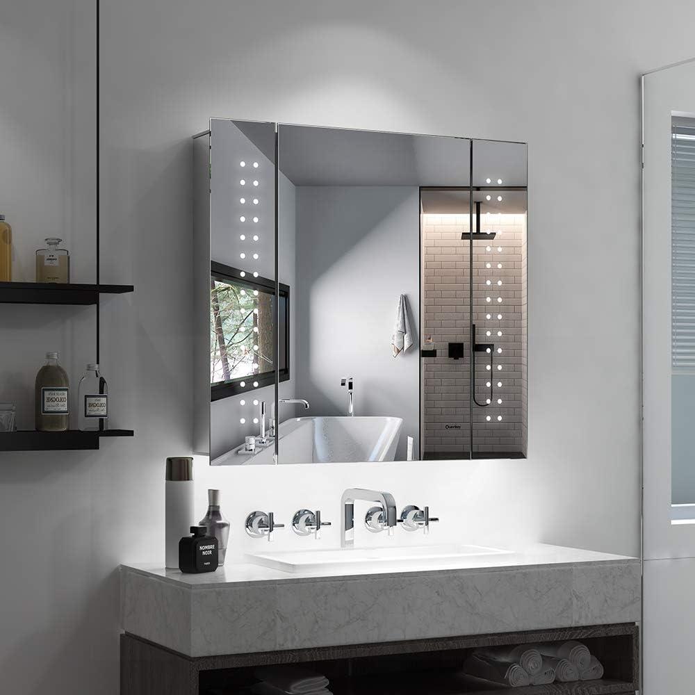 Quavikey Armadietto da Bagno con Specchio e Illuminazione LED 65x60x13 cm Presa per Rasoio Interruttore sensore IR antiappannamento