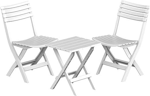 Duramax Conjunto Dos sillas y una Mesa de PVC, Blanco: Amazon.es: Jardín