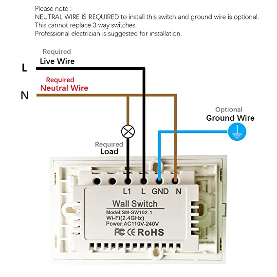 Smart Wifi Light Switch, Touch Wall Switch Panel, Replace 1 Switch ...