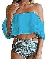Huiyuzhi Women's Off Shoulder Floral Print Flounce Two Piece Swimsuit High Waist Ruffled Bikini FBA)