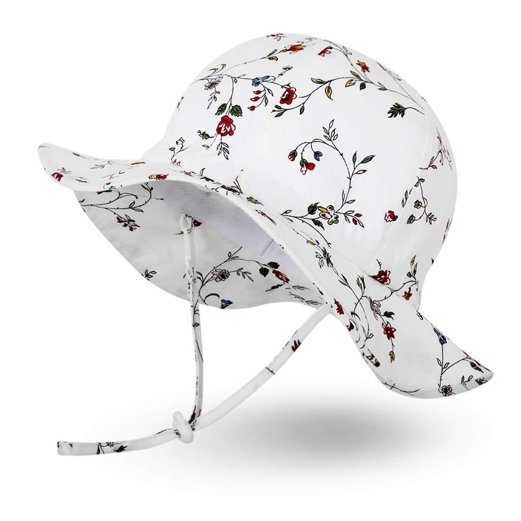 Ami&Li tots Unisex Child Adjustable Wide Brim Sun Protection Hat UPF 50 Sunhat for Baby Girl Boy Infant Kids Toddler - S: Mint Floral by Ami&Li tots