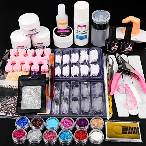 12 Glitter Acrylic Nail Kit Acrylic Powder Kit Nail Tips Acrylic Nail Brush Nail Decorations Nails Kit Professional Acrylic Nails Set