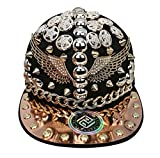 myglory77mall PRANKERS Handmade Flat Cap Snapback Bboy Hats Adjustable Hip-Hop WI4 Black Mesh L For Adults