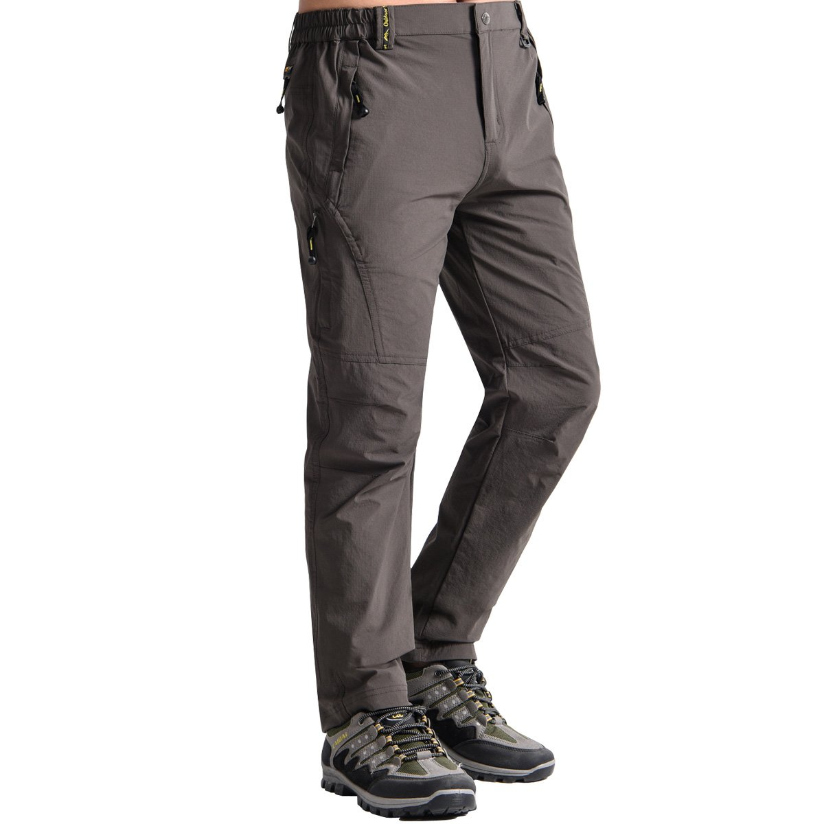 Fung-wong Men's Outdoor Quick Dry Lightweight Hiking Fishing Cargo Work Pant, Deep Grey, Small
