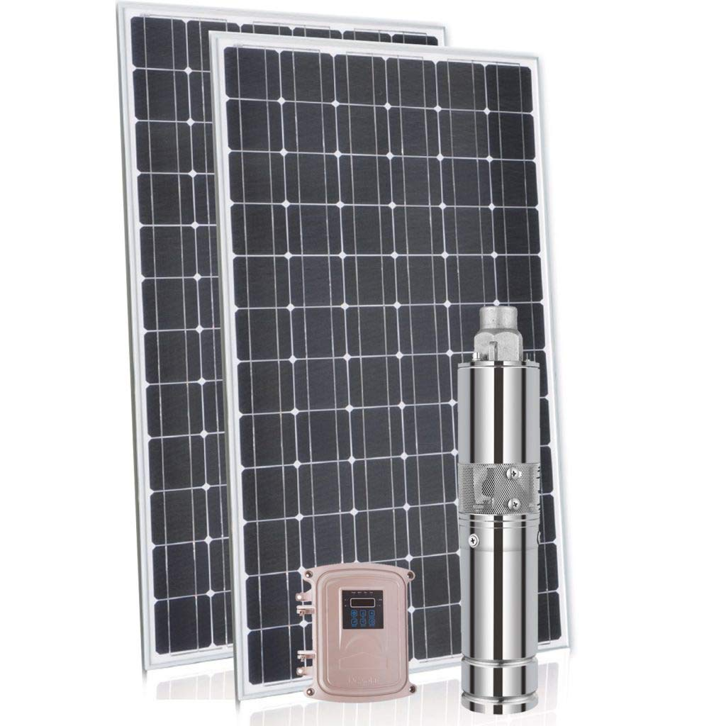 Submersible Solar Pump Screw 3″   2.2180   180M Head   2200L HR   72V 1100 W Comes with 3 x Solar Panels