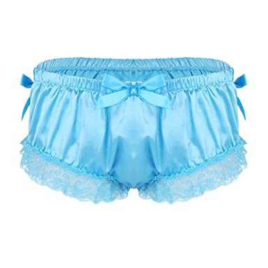 107c613ae886 MSemis Men's Sissy Frilly Shiny Satin Panties Floral Lace Skirted Briefs Lingerie  Underwear Blue Medium (