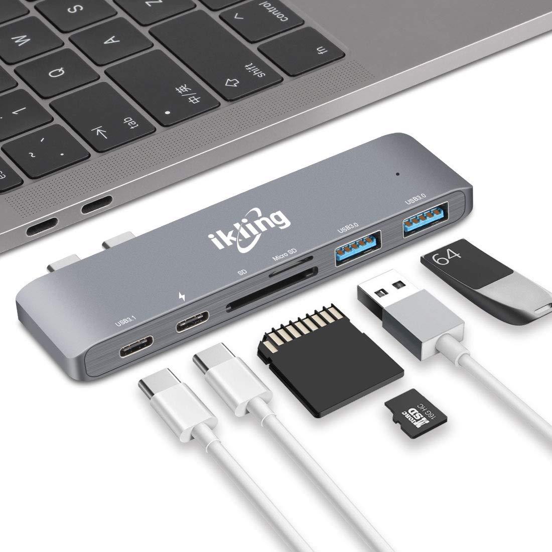 USB C Hub Multiport Charging Adapter - ikling USB Type C Hub Thunderbolt 3 Port, 40Gbps TB 3, SD/TF Card Reader, 2 USB 3.0, USB C 3.1, Power Delivery Type C Charging Port
