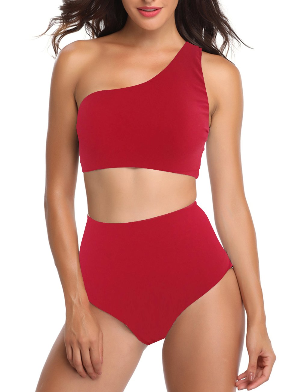 Women Padded Stripe Bikini Set One Shoulder 2 Piece Swimwear (L, Red)