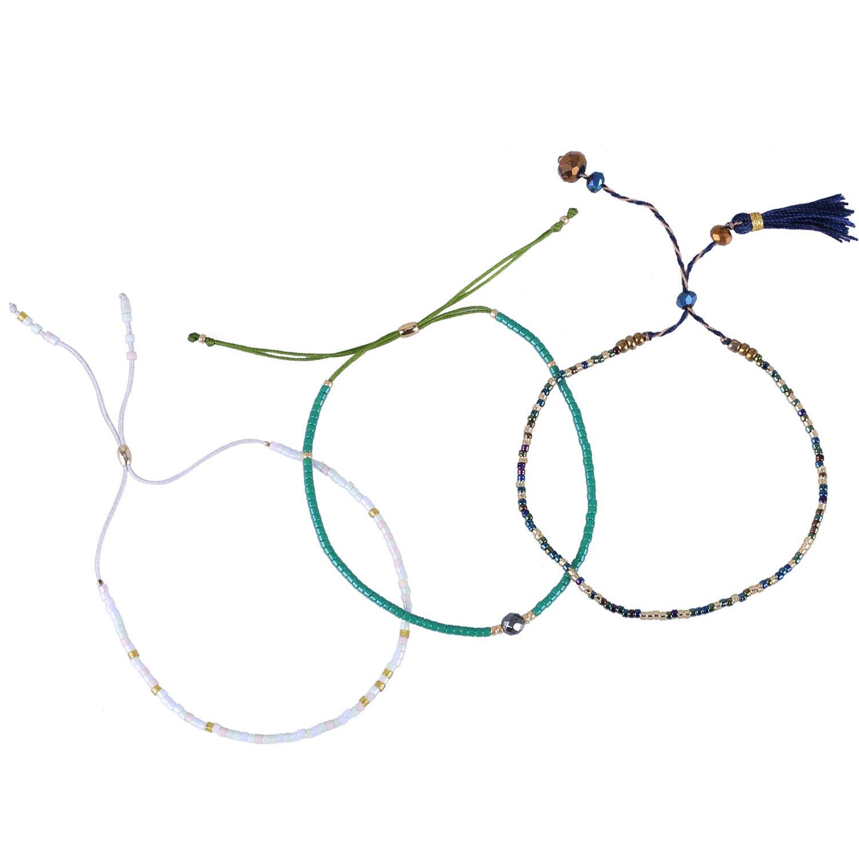 KELITCH 3pcs Lucky Beaded Friendship Bracelet Handmade Bangle Girls/Kid gift (Color 3)