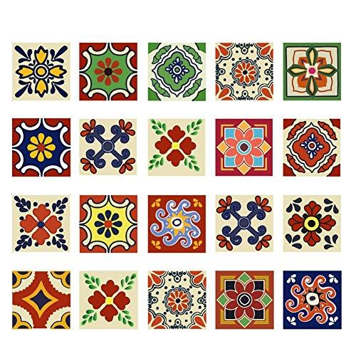 - Tracfy Talavera Tile Stickers Mosaic Wall Stickers 20 PC Set 4x4