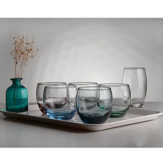 Tazas de vidrio mousse de helado tazas de leche taza de bebidas transparentes de vidrio zumo de cerveza wiskey tubo 5 colores-Cian 320ml: Amazon.es: Hogar
