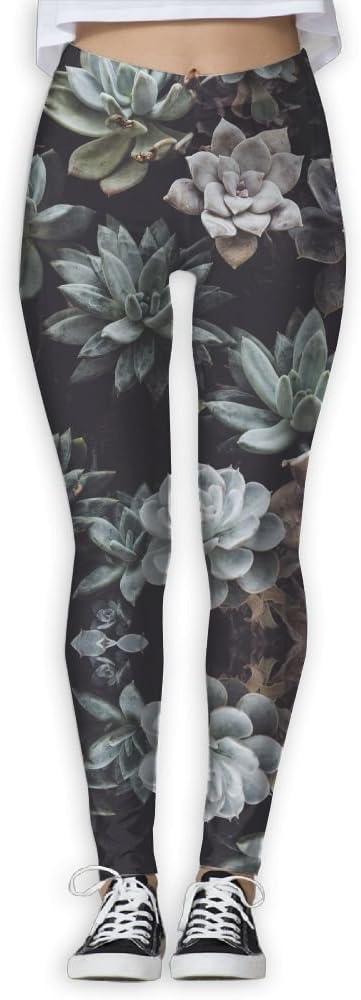 ZGZGZ Womens Succulents Potted Printed Yoga Pants Workout Capris Lightweight Yoga Leggings