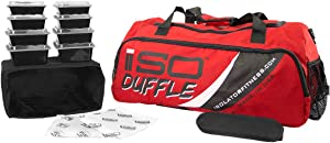 Meal Prep Duffle 4 Meal ISODUFFLE Gym Bag Meal Prep Management Insulated Lunch Bag with 8 Stackable Meal Prep Containers, 2 ISOBRICKS and Shoulder Strap -MADE IN USA (Red)