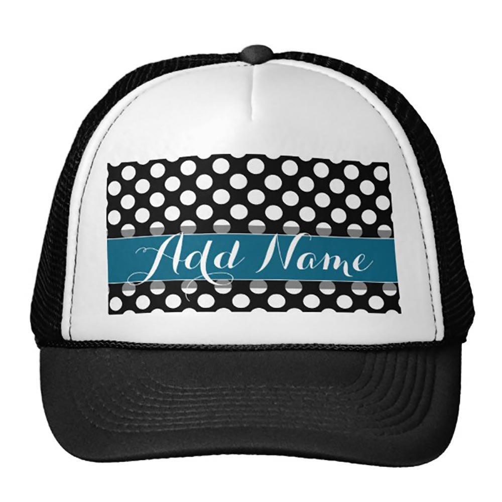 Goodaily Funny Black and White Polka Dot Pattern Blue Monogram Trucker Hat Baseball Mesh Caps