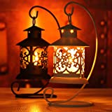 Mother's Day Gift Candle Lanterns Hanging or Tabletop Moroccan Style Ornate White Metal Candleholders Great for Patio Indoors Outdoors Events Parties and Weddings