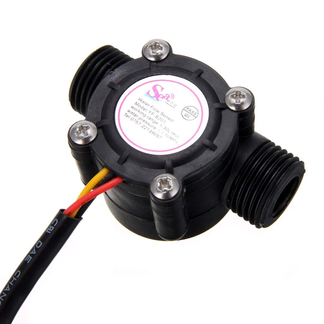 KINWAT 1pc Water Flow Sensor 1/2'' Effect Flowmeter Hall Water Control 1-30L/min