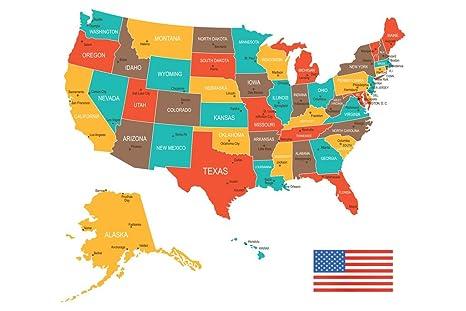 Amazon.com: Multi Colored Map of The United States USA Classroom Art ...