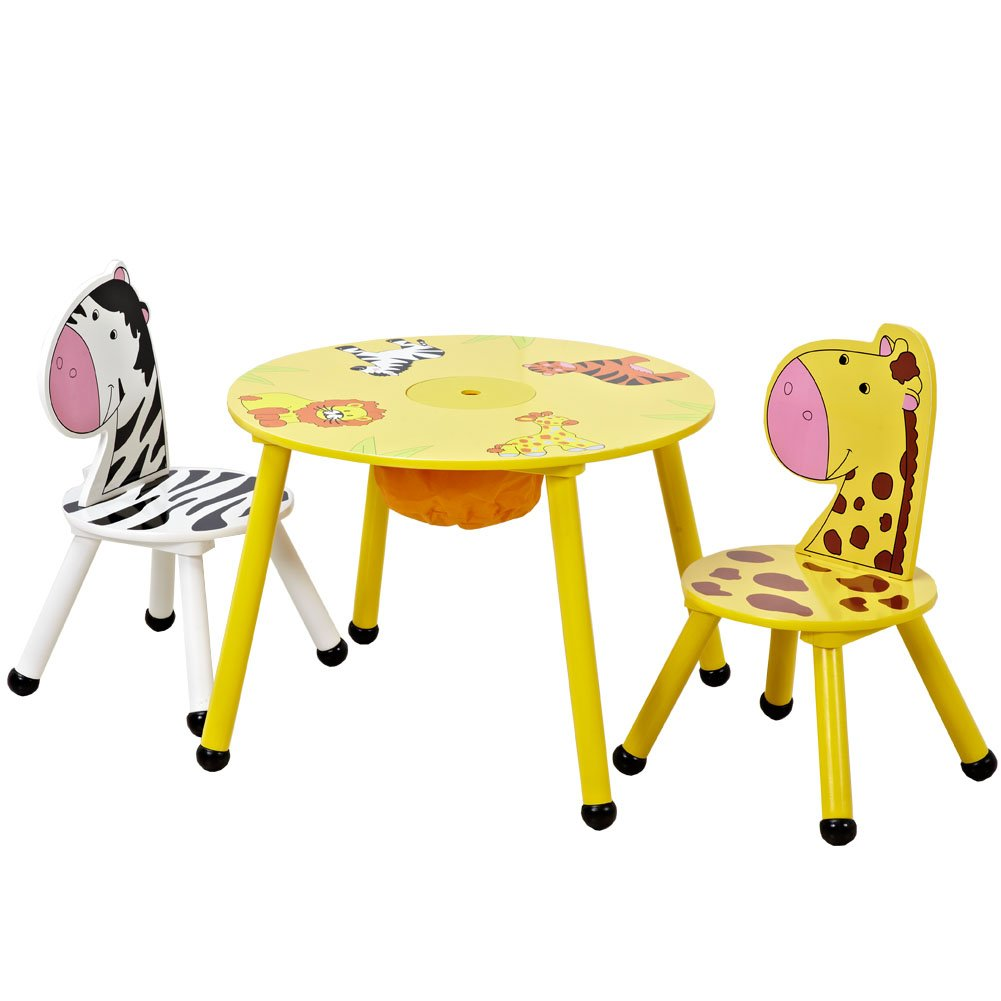 ISUMER Kids Wooden Table and 2 Chairs Set with Storage