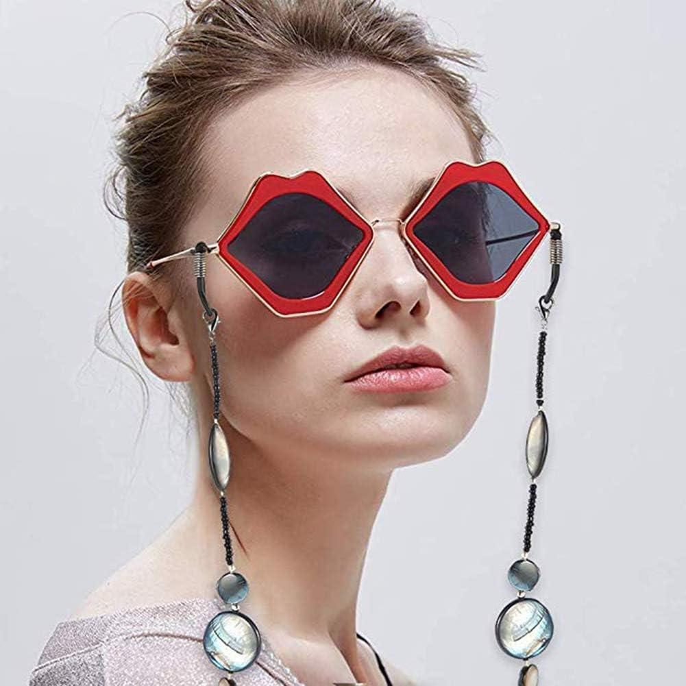 Auidy/_6TXD 4 St/ück Perlen Brillenband Anti-Rutsch Sonnenbrille Halteschnur Kette Einstellbare Brillenhalter 2 Perlenstile + 2 Schalenmaterial