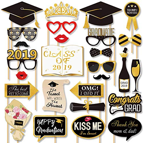 2019 Graduation Photo Booth Props - Real Gold Glitter, Grad Decorations Gifts for College High School Senior Prom Party Supplies, Large Size, 27 Count]()