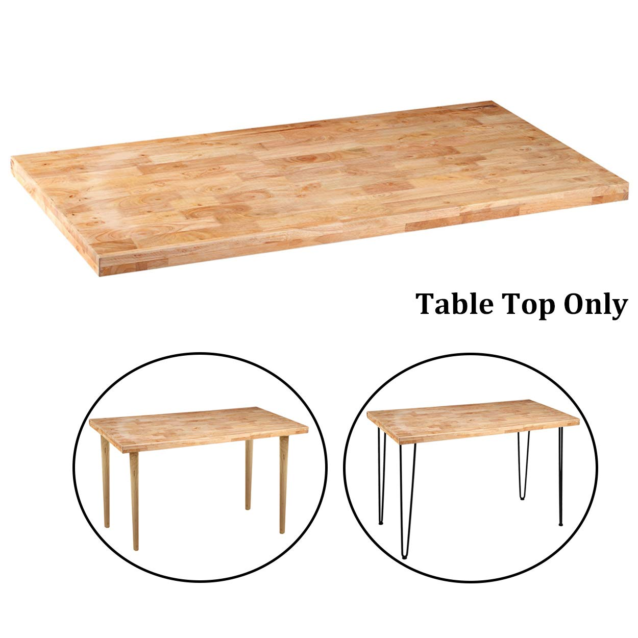 Sumerflos Home Office Desk, Workbench - 47''x 23.5'' Block Solid Pine Wood Table Top - with Pre-drilled Holes & Easy Assembly - Perfect for Computer Desk/Writing Desk/Dining Table (Table Top Only) by SUMERFLOS