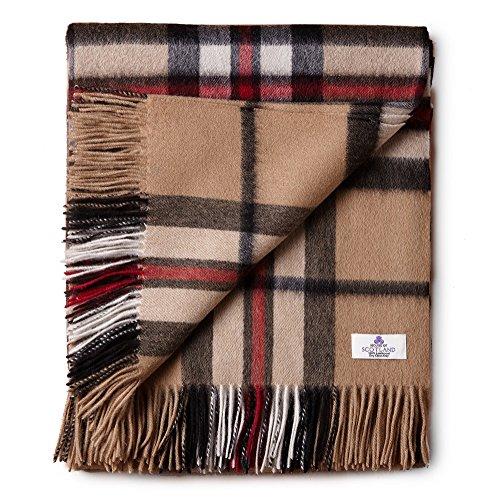 (House of Edinburgh 100% Lambswool Ultra Soft Bed/Sofa Cover Tartan Blanket Throw - (Thomson Camel))