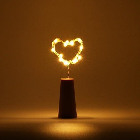 COSOON Juego de 6 luces de corcho para botellas de vino, cadena de cobre, 15 LED de 28 pulgadas, luces de cadena de alambre para botella, bricolaje, boda, ...