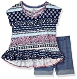 One Step Up Girls' Big Soft Knit Top and Short Set, Navy Noir Multi, 7/8