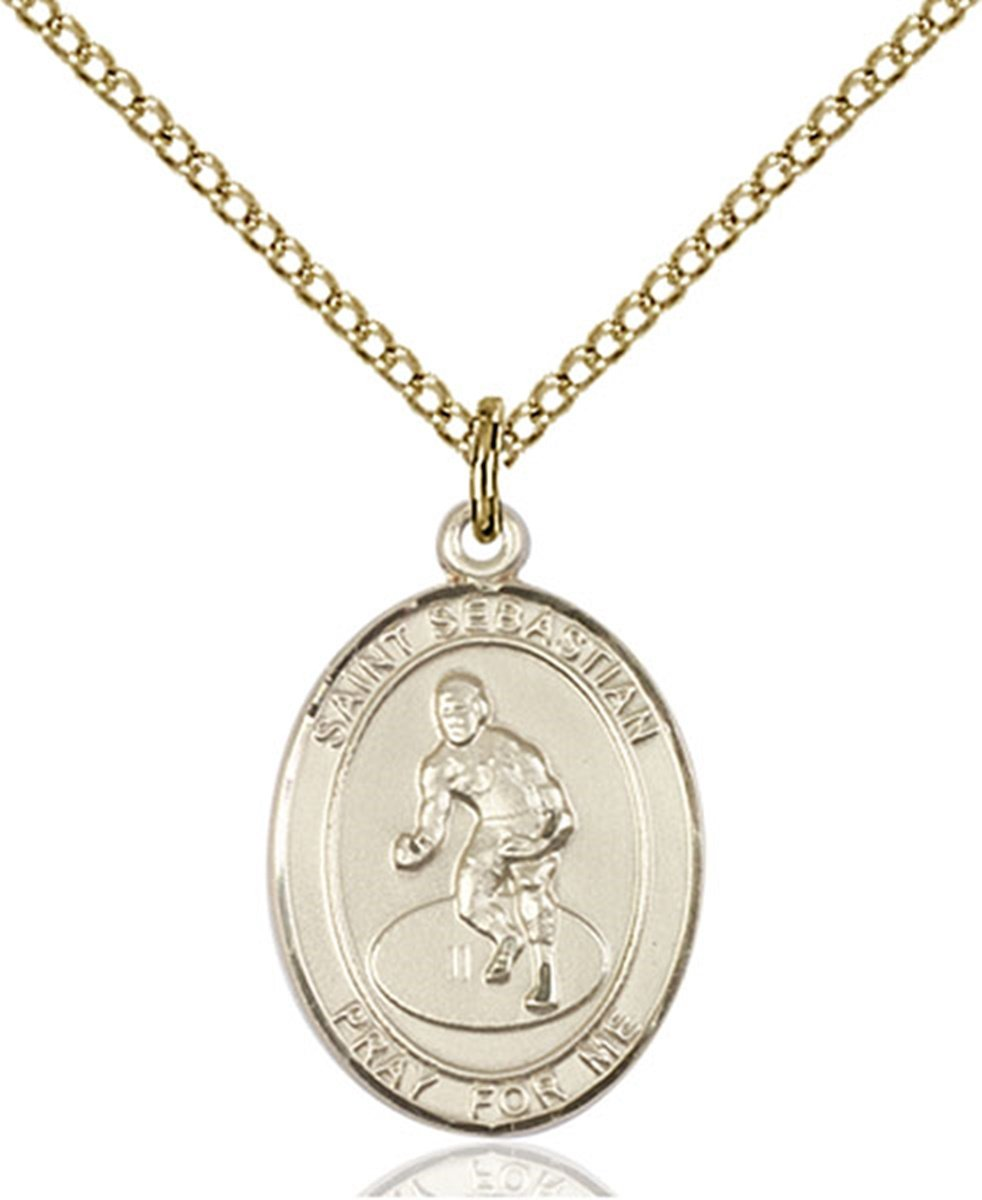 14K Gold Filled Saint Sebastian Wrestling Sports Athlete Medal, 3/4 Inch by Patron Saints by Bliss