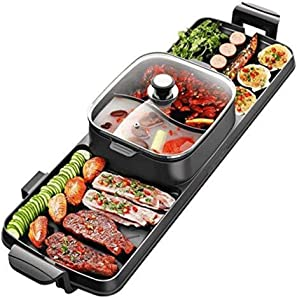 SPLY DTEM 2 in 1 and hot Pot, Table Party BBQ and hot Pot (6-8 People), Electric Raclette - not Sticky - Great Gift Ideas