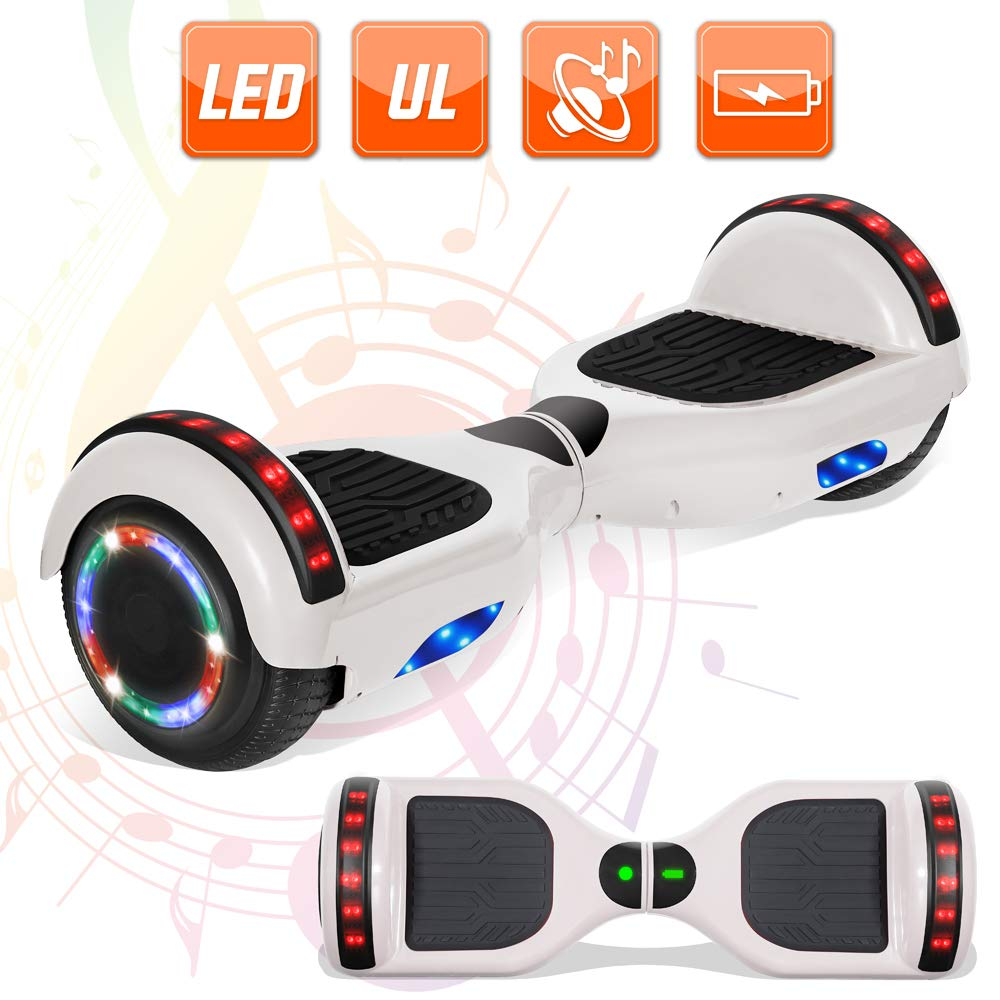 NHT 6.5'' Hoverboard Electric Self Balancing Scooter Sidelights with Bluetooth LED Lights - UL2272 Certified (HY White) by NHT