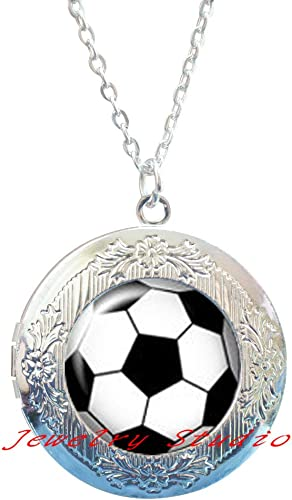 """Soccer Ball Fan Sports Jewelry Round Pendant Charm Necklace w//24/"""" Chain NEW COOL"""