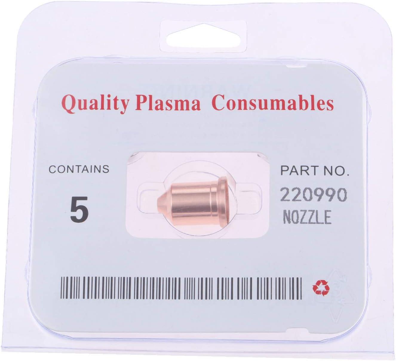 5 Pcs 220990 Plasma Nozzle Fit for PMX 105 HRT HRTs MRT 105A Drag-cut Mechanized