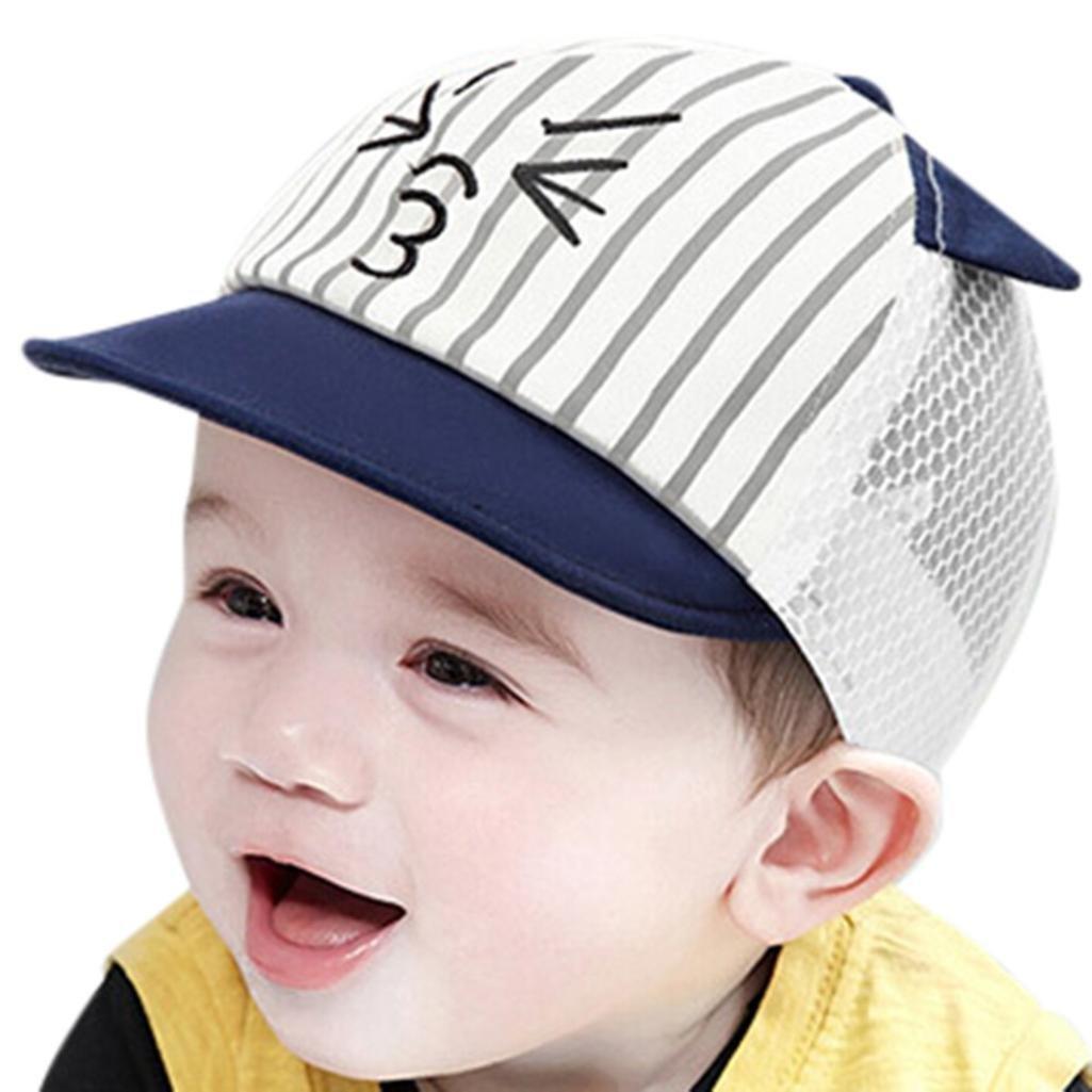 8c33870011a Baby Toddler Boys Girls Cat Cartoon Hat Infant Beret Cap Baseball Hat  Summer Sun Hat Hip Hop Hat (Blue)  Clothing