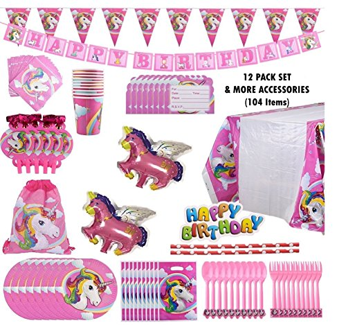 Price comparison product image Unicorn Party Supplies Set with Disposable Tableware,  BONUS Drawstring Bag,  Cake Toppers,  Party Hanging Decoration Kit,  Balloons,  Invitation Cards & Gift Bags Kids Party Favors (party set)