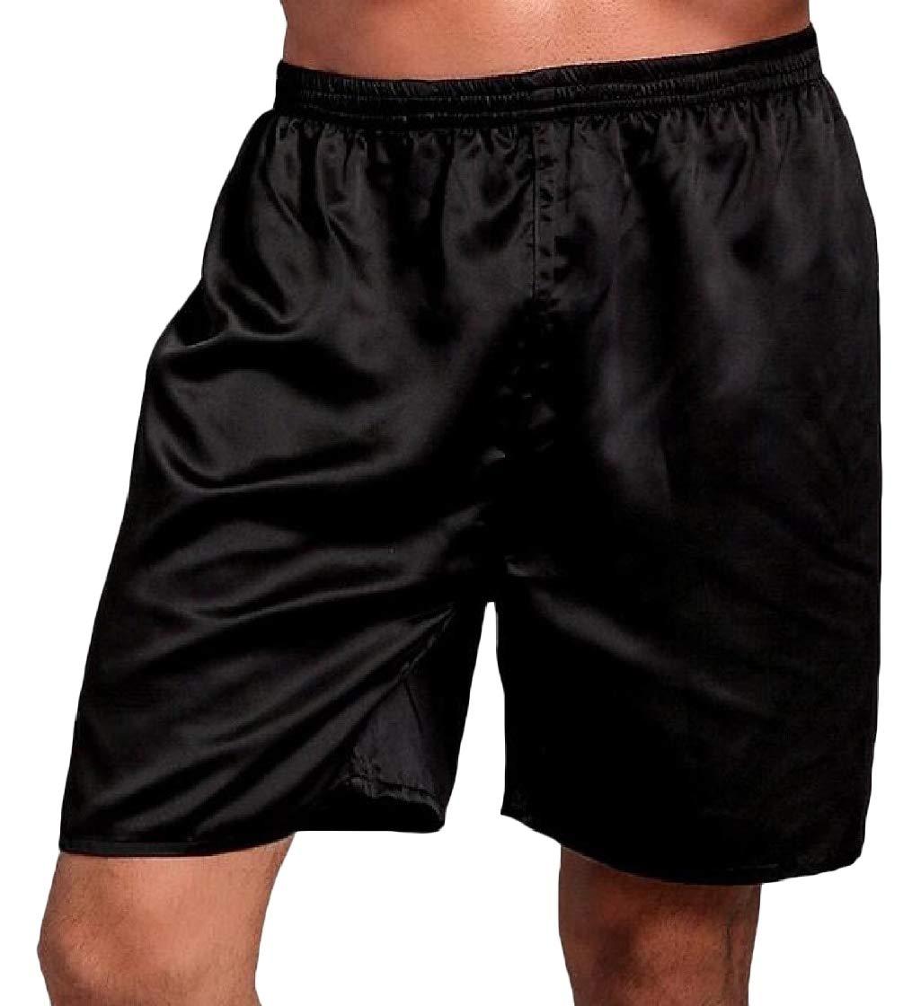 Macondoo Men Loose Beach Faux Summer Casual Thin Shorts Solid Pajama Pants Black L
