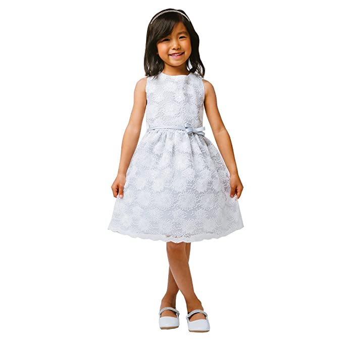 459683b1e062a Sweet Kids Big Girls Grey Flower Embroidered Special Occasion Dress 7